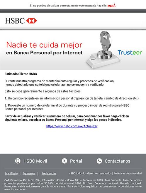 Correos Falsos Identificados Hsbc México